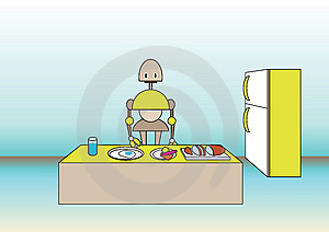 Comic Robot On The Kitchen Royalty Free Stock Photography - Image: 9255477