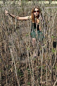 Girl Making Her Way Through Wilderness Stock Photo - Image: 9255920