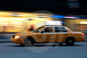 Taxi At Night, With Copyspace Stock Photography - Image: 9261252