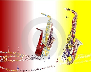 Saxophone Migration 2 Royalty Free Stock Images - Image: 9261549