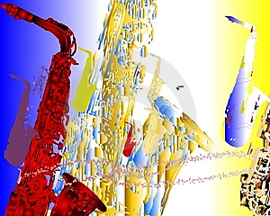 Saxophone Migration 5 Royalty Free Stock Images - Image: 9261699