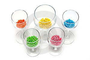 Transparent Glasses With Colour Sweetmeat Stock Photo - Image: 9261730