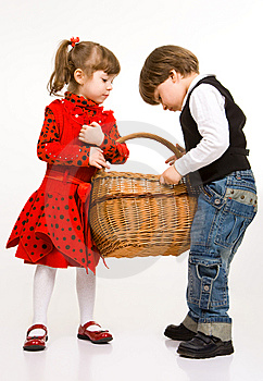 Two Beautiful Children With Basket Royalty Free Stock Photography - Image: 9262347