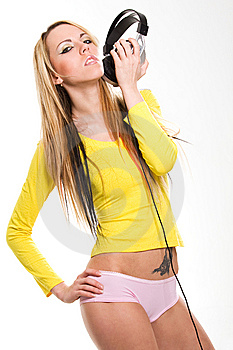 Girl With Headphones Portrait Royalty Free Stock Photography - Image: 9262397