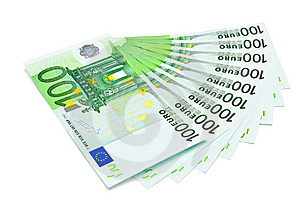 Several One Hundred Euro Bank Notes Royalty Free Stock Images - Image: 9263609