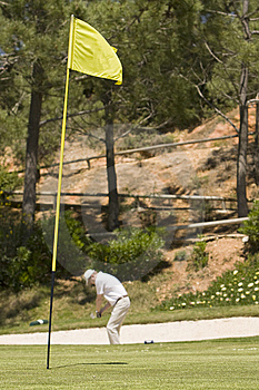 Green Golf Field Showing The Hole Flag Royalty Free Stock Photography - Image: 9266507