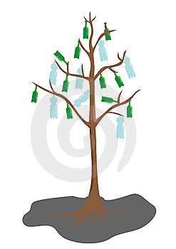 Tree With Bottle Leaves Royalty Free Stock Images - Image: 9266559