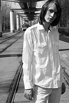 Man Standing On Tramway Royalty Free Stock Photos - Image: 9275408