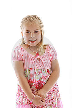 Cute Little Girl Wearing A Pink Dress Royalty Free Stock Image - Image: 9278936