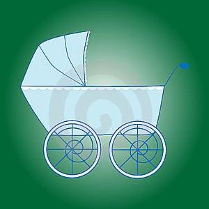 Blue Baby Boy Stroller Royalty Free Stock Image - Image: 9281226