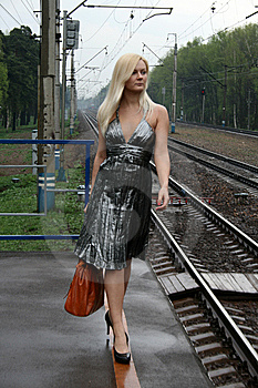 Girl Travels By Railroad Stock Photography - Image: 9283112