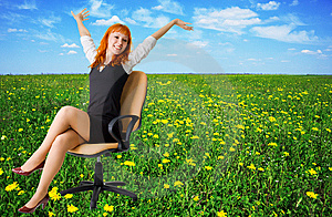 Businesswoman On A Beautiful Meadow Full Of Flower Stock Photo - Image: 9285360