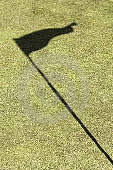 Green Golf Field Showing The Flag Shadow Stock Image - Image: 9292551
