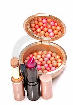 Blush Balls And Lipsticks Royalty Free Stock Photos - Image: 9296298