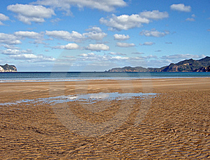 Whangapoua Beach At Low Tide, New Zealand Royalty Free Stock Photos - Image: 9297288