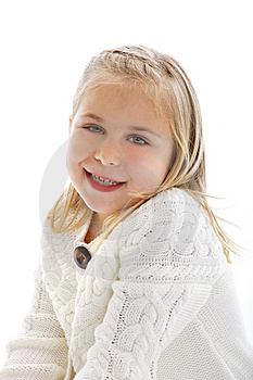 Cute Little Girl Wearing A White Sweater Royalty Free Stock Images - Image: 9298489