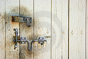 Old Dirty Door With Lock And Hasp Royalty Free Stock Photo - Image: 9299575