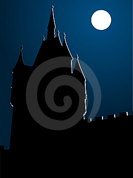 Castle In Moonlight Stock Photo - Image: 9299650