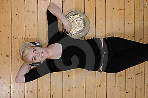 Eat Popcorn And Listen To Music Royalty Free Stock Images - Image: 9299669