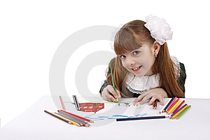 Girl Is Drawing  In Pencil. Royalty Free Stock Photography - Image: 9304657
