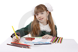 Girl Is Drawing  In Pencil. Royalty Free Stock Photo - Image: 9304665