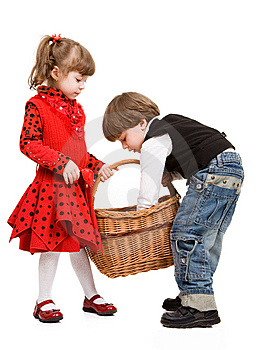 Two Beautiful Children With Basket Stock Images - Image: 9312644