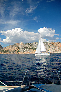 White Yacht Royalty Free Stock Image - Image: 9316966