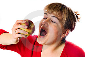 Woman With Red Apple Stock Photo - Image: 9318080