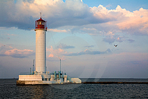 Lighthouse Over Blue Sky Background Stock Photography - Image: 9318662