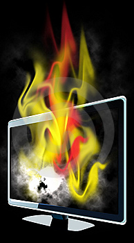 Burning Lcd Tv Stock Images - Image: 9319264