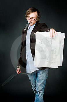 Young Architect With Sketch Royalty Free Stock Photography - Image: 9319407