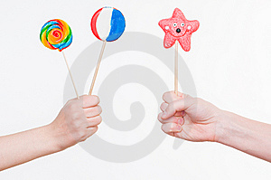 Hands With Lollipops Stock Photo - Image: 9319470