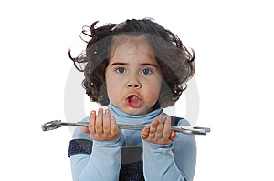 Little Girl Holding Tools Royalty Free Stock Image - Image: 9319486