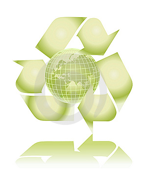 Vector green globe with recycling sign Stock Image