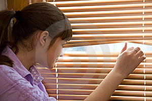 Teenager Girl Looks Out Of The Window Stock Image - Image: 9320311