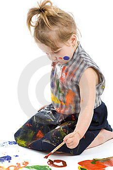 Cute Baby Paintings Royalty Free Stock Image - Image: 9320356
