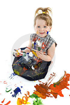 Cute Baby Paintings Stock Image - Image: 9320381