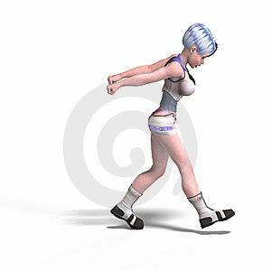 Female Scifi Heroine Pulling Something Royalty Free Stock Image - Image: 9324716