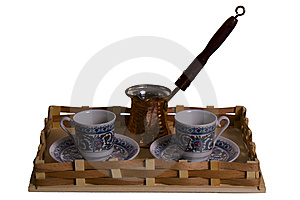 Set From Two Cups And A Coffee Maker On A Tray Royalty Free Stock Image - Image: 9325736