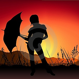 Girl And Umbrella - Sunset Stock Images - Image: 9326324