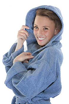 Smiling Woman In Bathrobe. Isolated Over White Bac Stock Photography - Image: 9330542