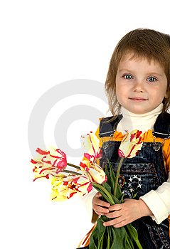 Cute Little Girl Giving Tulips Stock Photography - Image: 9331802