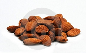 Almonds  On White Background Royalty Free Stock Photos - Image: 9332778