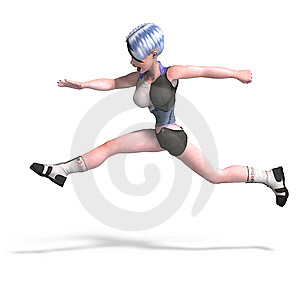 Female Scifi Heroine Jumping Over Something With Stock Photo - Image: 9343980