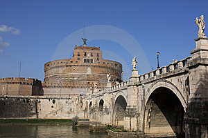 San Angelo Bridge And Castle In Rome,Italy Stock Photography - Image: 9345132