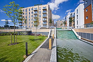 Modern Development With Water Feature Stock Photos - Image: 9346463