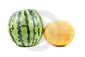 Water-melon And Melon Stock Photography - Image: 9346802