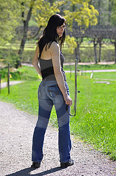 Woman Looking Back Stock Photo - Image: 9348740