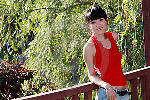Asian Girl Outdoors. Stock Photo - Image: 9350640