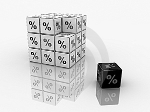 Symbols Of Percent On Cubes Stock Photo - Image: 9350940